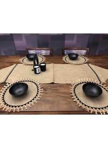 Giz Home Giz Home Ta25 E&C Jüt 6 Kişilik Püskül Detaylı Şeritli Kahve Runner Ve Supla Takımı Renkli